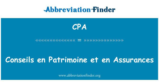 CPA: Conseils en Patrimoine et en Assurances