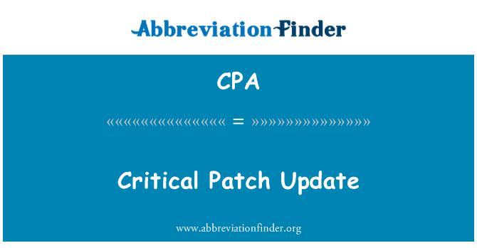 CPA: Critical Patch Update
