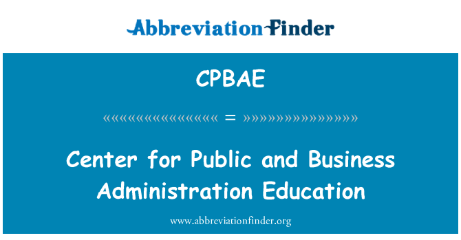 CPBAE: Center for Public and Business Administration Education