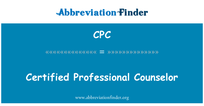 CPC: Certified Professional Counselor