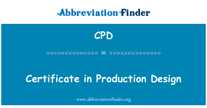 CPD: Certificate in Production Design