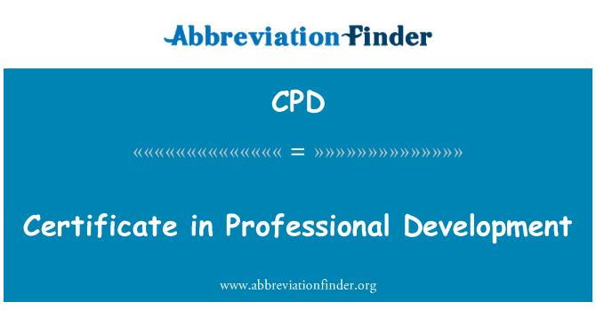 CPD: Certificate in Professional Development