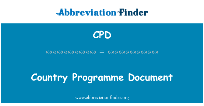 CPD: Country Programme Document