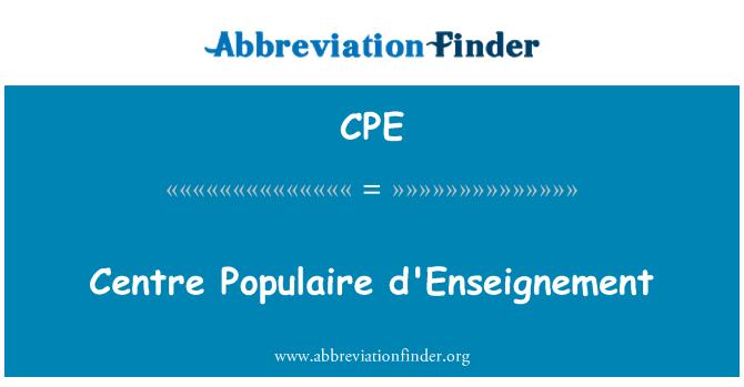 CPE: Centre Populaire d'Enseignement