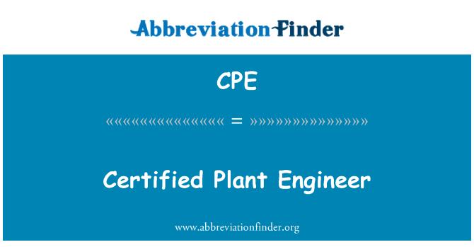 CPE: Certified Plant Engineer