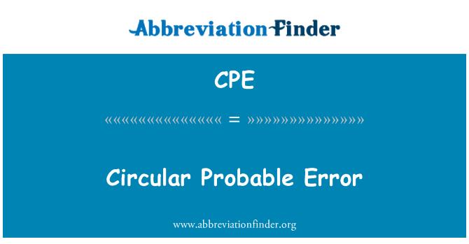 CPE: Circular Probable Error