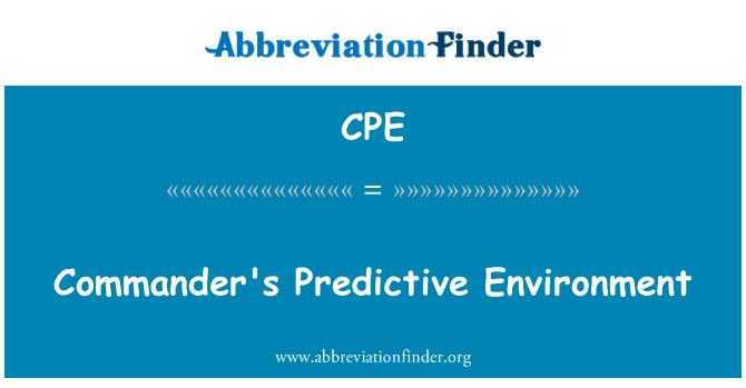 CPE: Commander's Predictive Environment