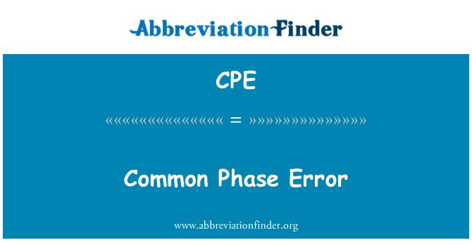 CPE: Common Phase Error