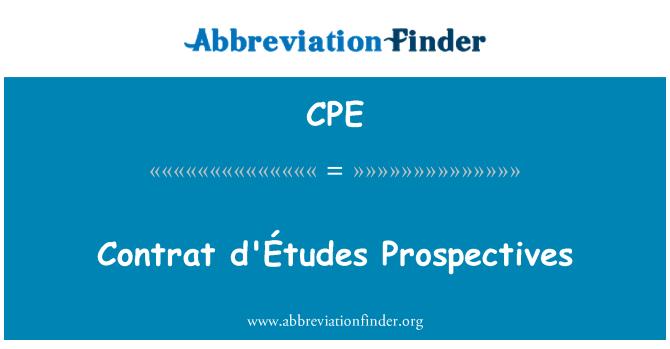 CPE: Contrat d'Études Prospectives
