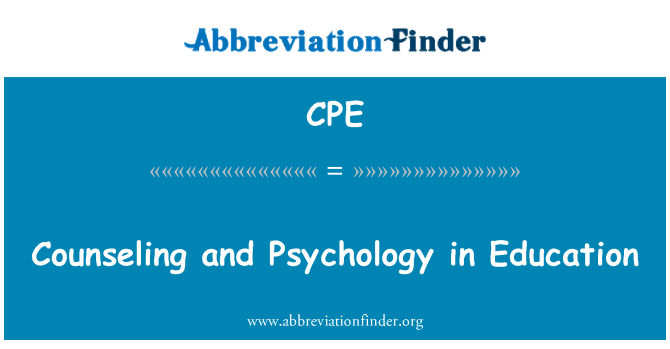 CPE: Counseling and Psychology in Education