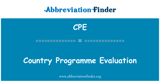 CPE: Country Programme Evaluation