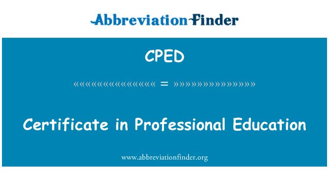 CPED: 在职业教育中的证书