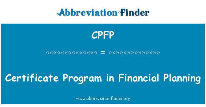 CPFP: Certificate Program in Financial Planning