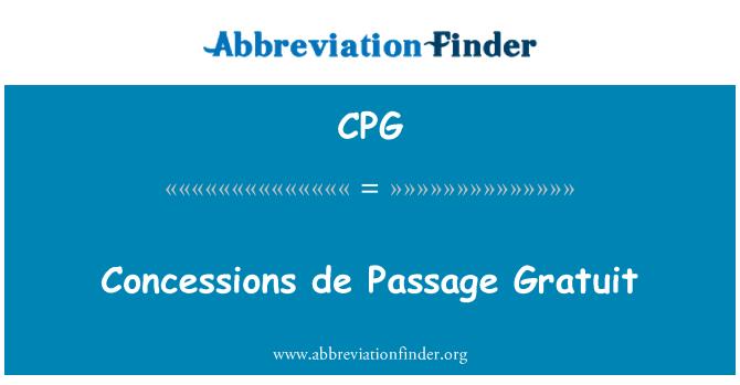 CPG: Concessions de Passage Gratuit