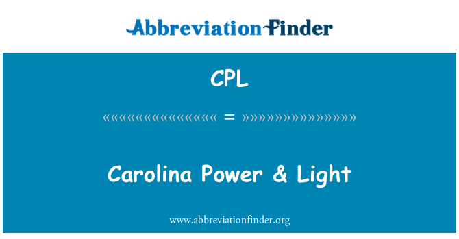 CPL: Carolina Power & Light