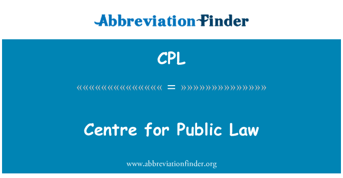 CPL: Centre for Public Law