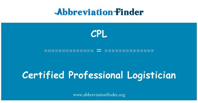 CPL: Certified Professional Logistician