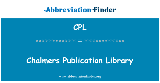 CPL: Chalmers Publication Library