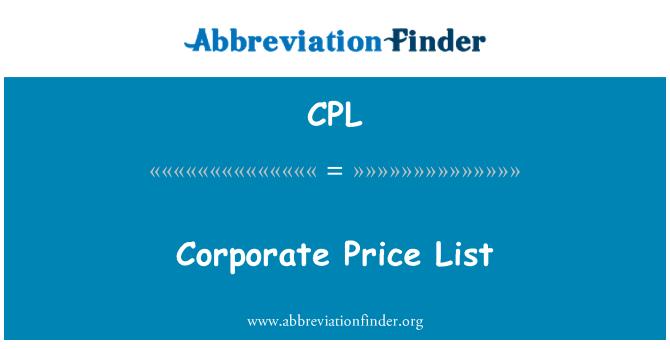 CPL: Corporate Price List