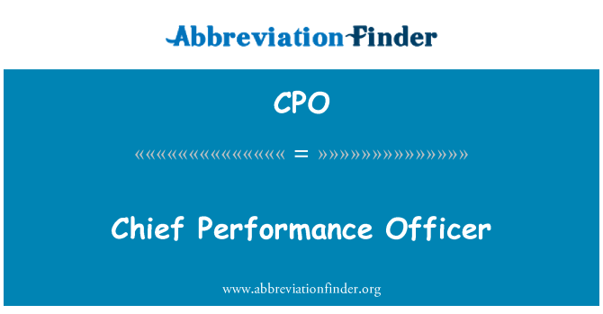 CPO: Chief Performance Officer