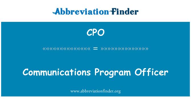 CPO: Communications Program Officer
