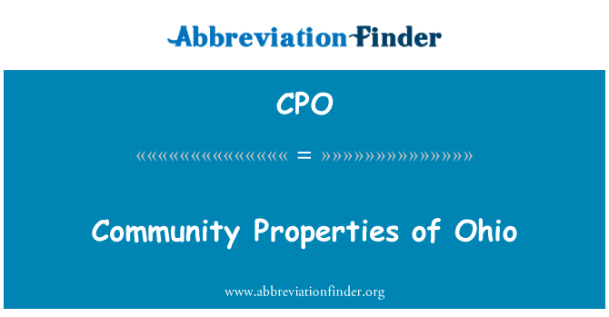 CPO: Community Properties of Ohio