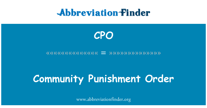 CPO: Community Punishment Order