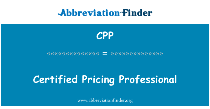 CPP: Certified Pricing Professional