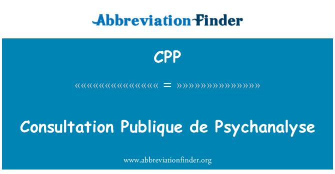 CPP: Consultation Publique de Psychanalyse