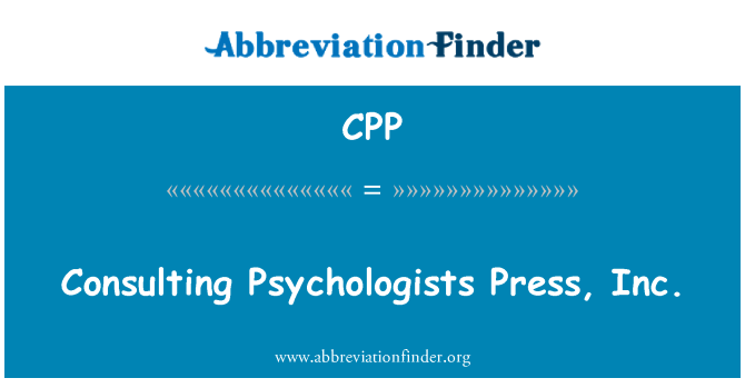CPP: Consulting Psychologists Press, Inc.