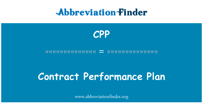 CPP: Contract Performance Plan