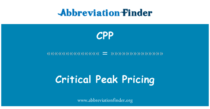 CPP: Critical Peak Pricing