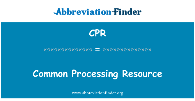 CPR: Common Processing Resource