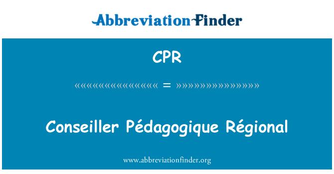 CPR: Conseiller Pédagogique Régional