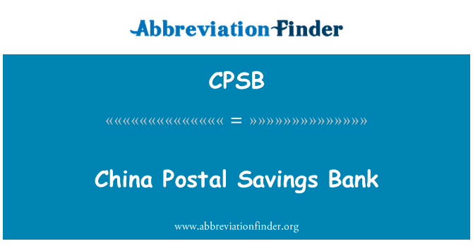 CPSB: China Postal Savings Bank