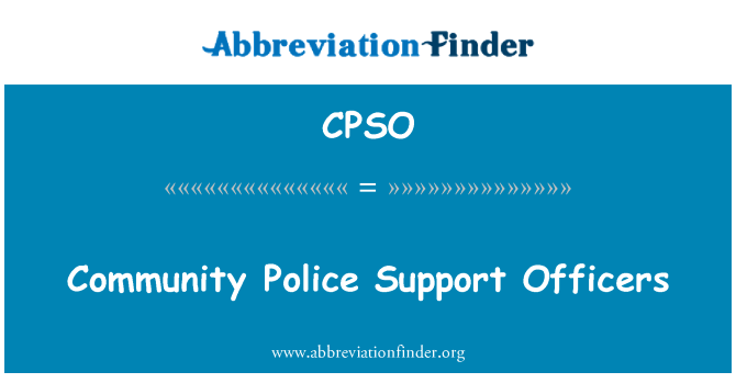 CPSO: Community Police Support Officers