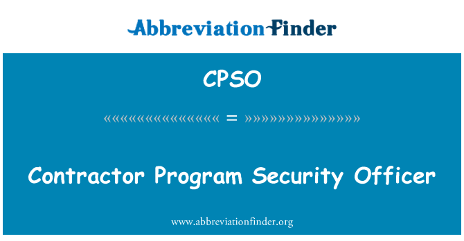 CPSO: Contractor Program Security Officer