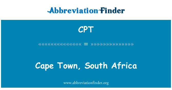 CPT: Cape Town, South Africa