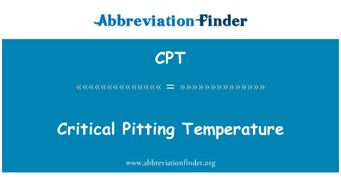 CPT: Critical Pitting Temperature