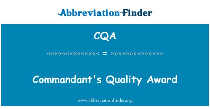 CQA: Commandant's Quality Award