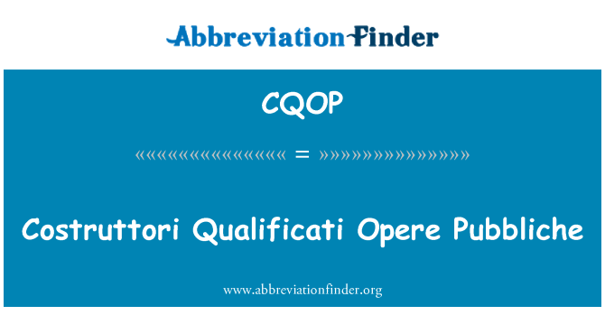 CQOP: Costruttori 条件歌剧 Pubbliche