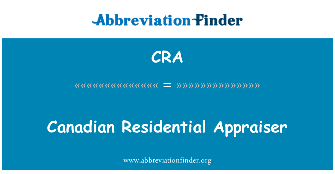 CRA: Canadian Residential Appraiser