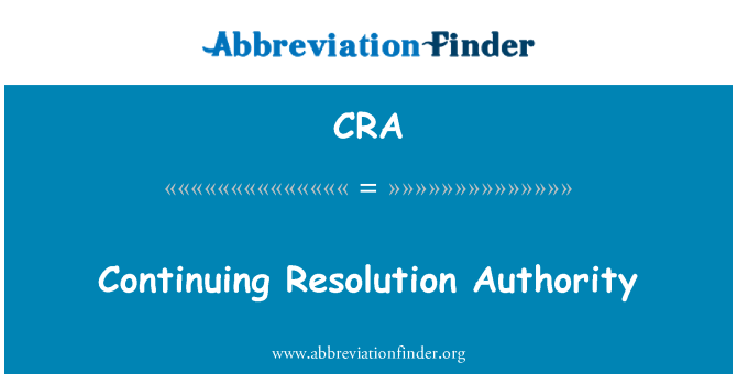 CRA: Continuing Resolution Authority