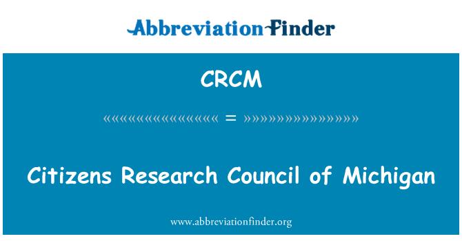 CRCM: Vatandaşlar Michigan Konseyi araştırma