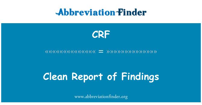 CRF: Clean Report of Findings