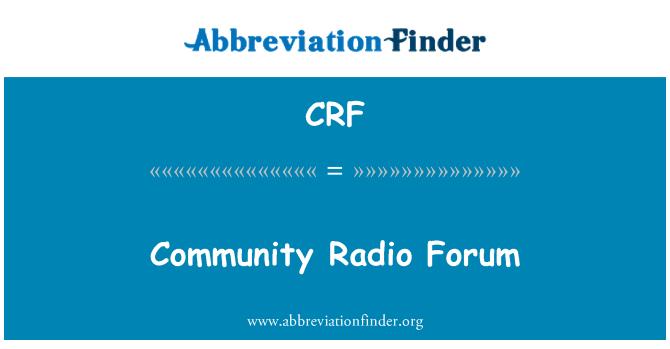 CRF: Community Radio Forum