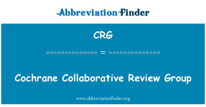 CRG: Cochrane Collaborative Review Group