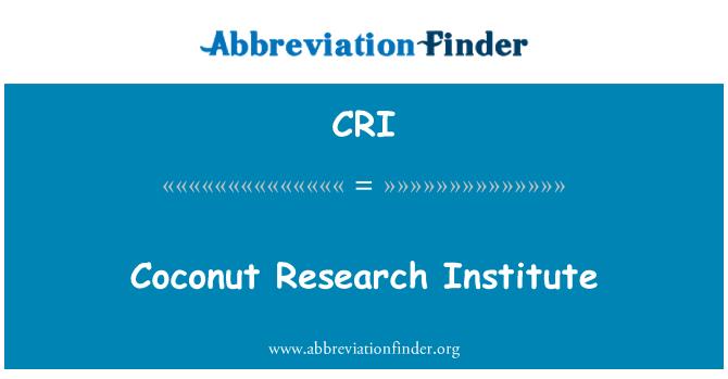 CRI: Coconut Research Institute