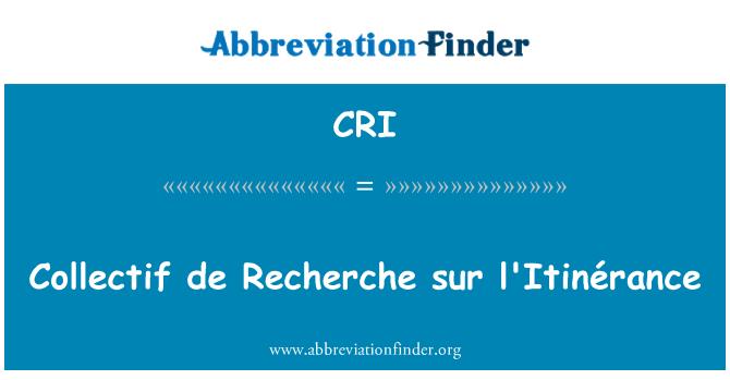 CRI: Collectif de Recherche sur l'Itinérance