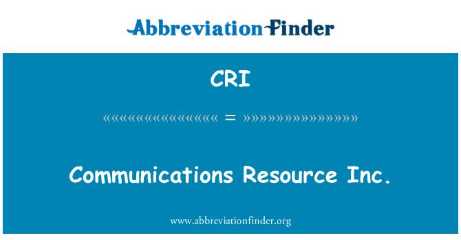 CRI: Communications Resource Inc.